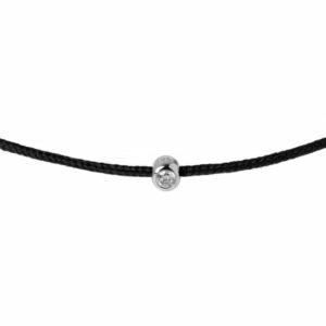 black string bracelet with diamond charm
