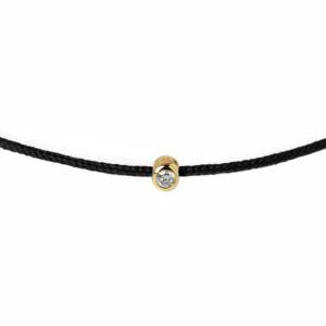 black string bracelet with yellow gold diamond charm