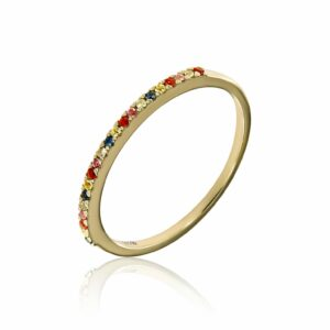 yellow gold ring with colourful sapphires