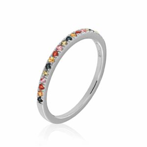 white gold ring with colourful sapphires