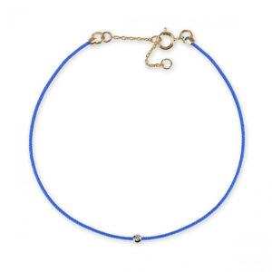 blue string bracelet with white diamond
